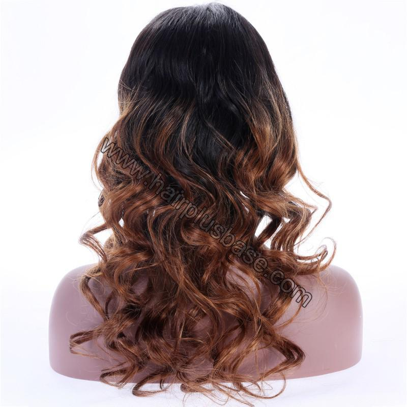Ombre Glueless Lace Front Wigs Peruvian Virgin Hair Natural Color To #30 7