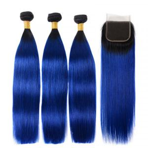 Ombre Hair Color 1B/Blue Straight Hair 3 Weaves With Lace Closure And Dark Roots