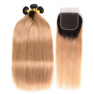 Ombre Hair Color Straight Hair Weaves 1B/27 3 Bundles With Lace Closure