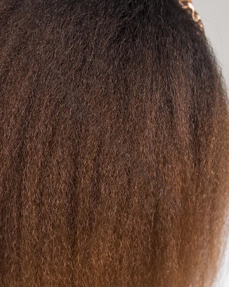 Ombre Kinky Straight Headband Wigs 180% Density #1b/33 2