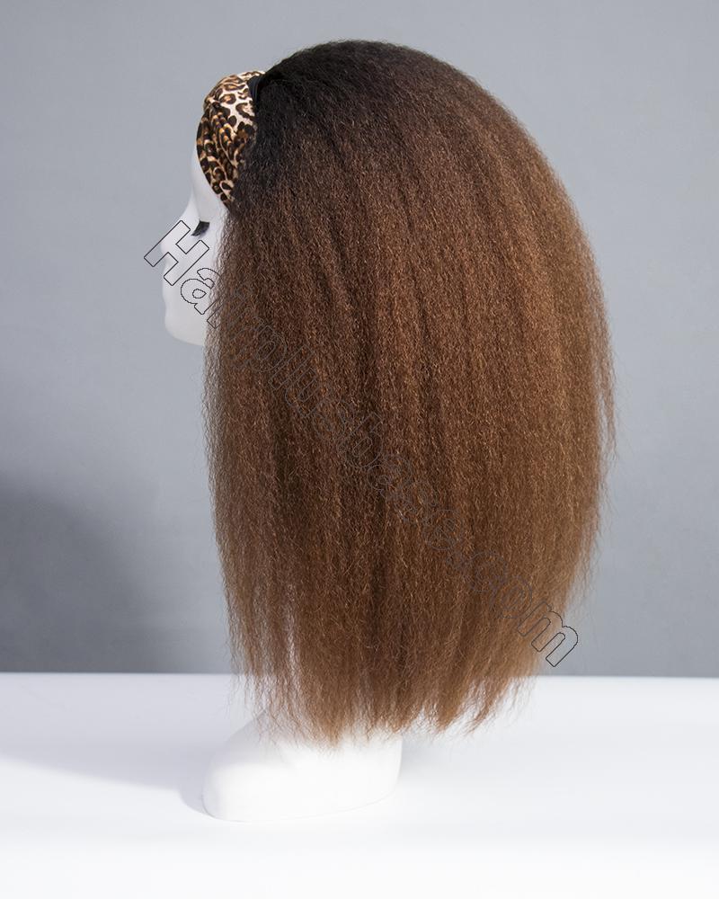 Ombre Kinky Straight Headband Wigs 180% Density #1b/33 4
