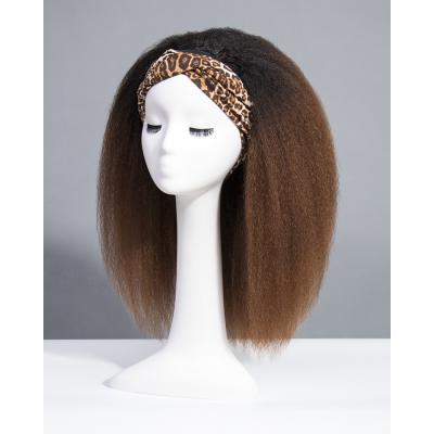 Ombre Kinky Straight Headband Wigs 180% Density #1b/33