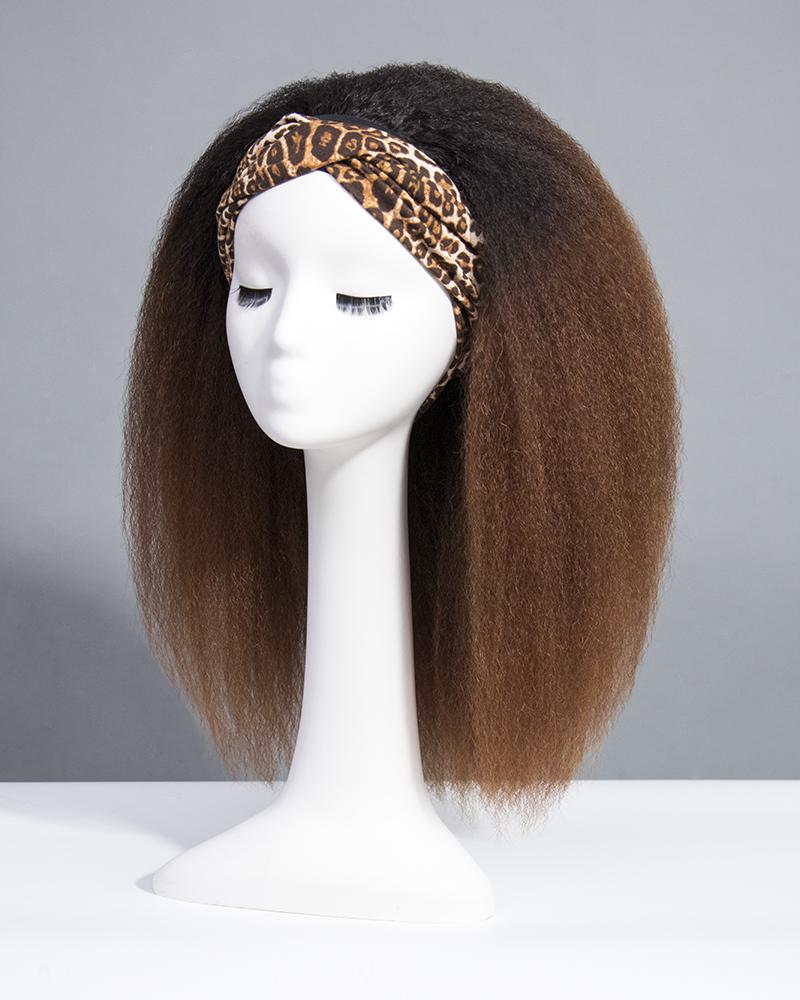 Ombre Kinky Straight Headband Wigs 180% Density #1b/33 9