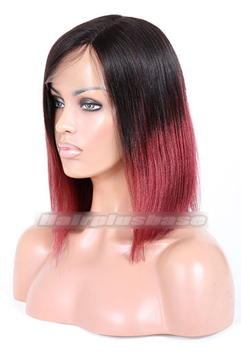 Indian Remy Hair Ombre Red Left Part Bob Yaki Straight Glueless Lace Part Wigs