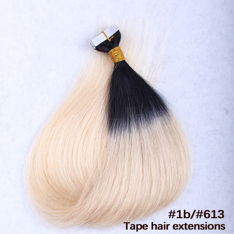 10 30 inch ombre tape in remy human hair extensions two tone 1b omgnb detail 6 pmusecretfo Gallery