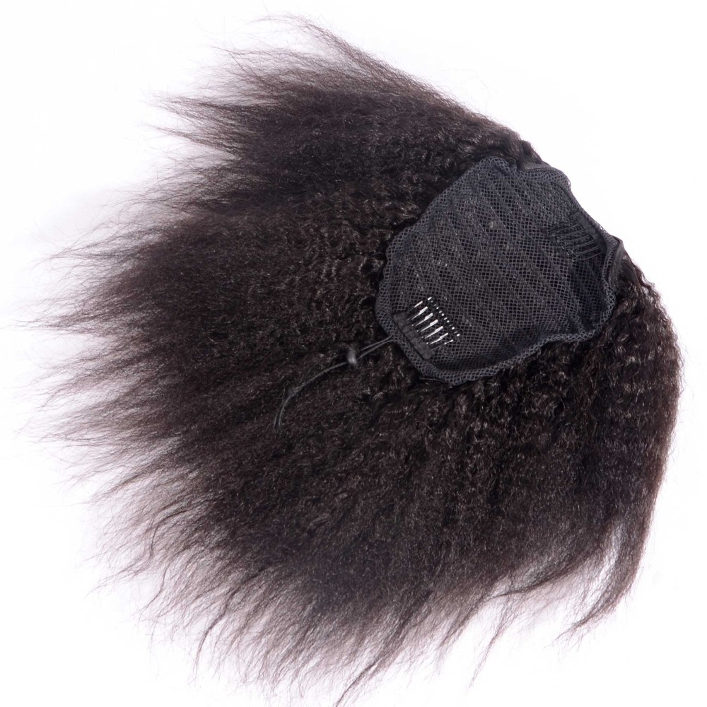 8 26 inch kinky straight ponytail human hair drawstring