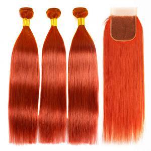 Orange Hair Color 350 Straight Hair Weave 3 Bundles With Closure