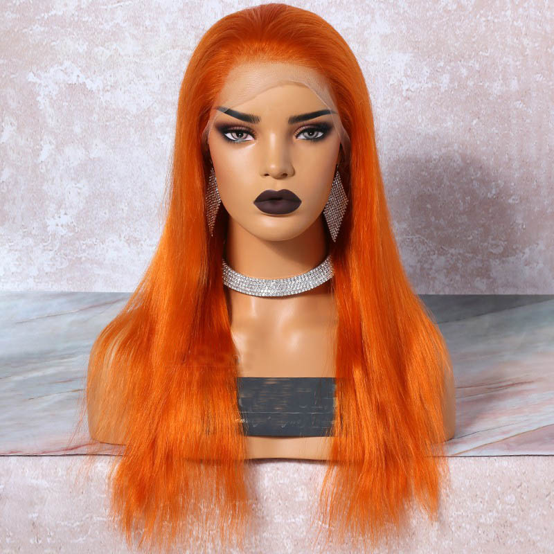 Orange Hair  Full Lace Wigs Natural Straight, 120% Density, Chinese Virgin Hair