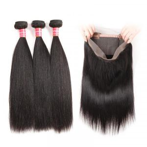 Peruvian Straight Hair 3 Bundles With 360 Lace Frontal Virgin Human Hair