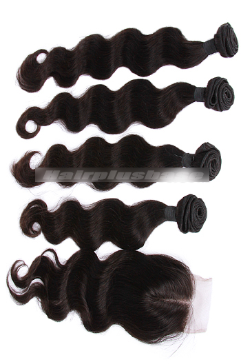 10-30 Inch Body Wave 7A Virgin Hair A Lace Closure With 4 Bundles Deal