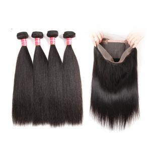 Peruvian Virgin Hair Bundles With 360 Lace Frontal Straight Weave Hairstyles