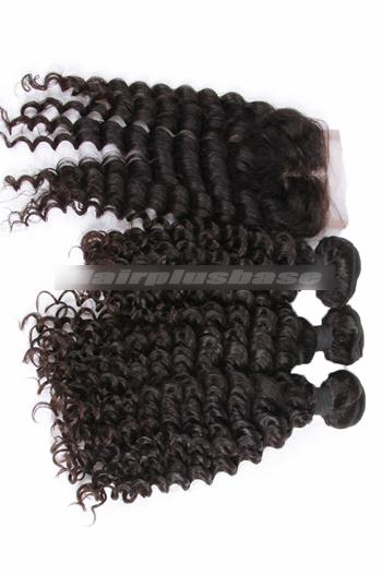 10-30 Inch Deep Wave Peruvian Virgin Hair A Lace Closure With 3 Bundles Deal