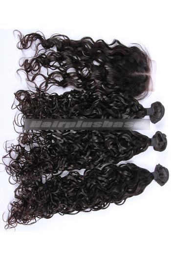 10-30 Inch Loose Curl Peruvian Virgin Hair A Lace Closure With 3 Bundles Deal