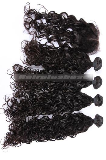 10-30 Inch Loose Curl Peruvian Virgin Hair A Lace Closure With 4 Bundles Deal