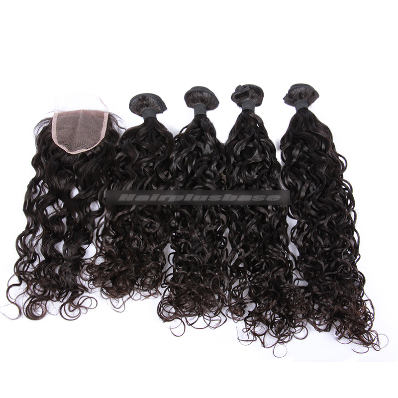 Peruvian Virgin Hair Loose Curl A Lace Closure With 4 Bundles Deal