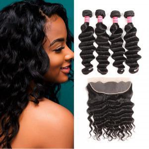 Peruvian Virgin Hair Loose Deep 4 Bundles With Lace Frontal Closure