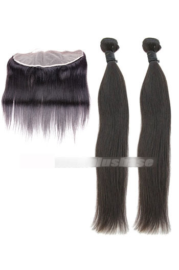 Silky Straight Peruvian Virgin Hair A Lace Frontal With 2 Bundles Deal