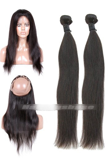Natural Straight 7A Virgin Hair 360°Circular Lace Frontal with 2 Weaves Bundles Deal