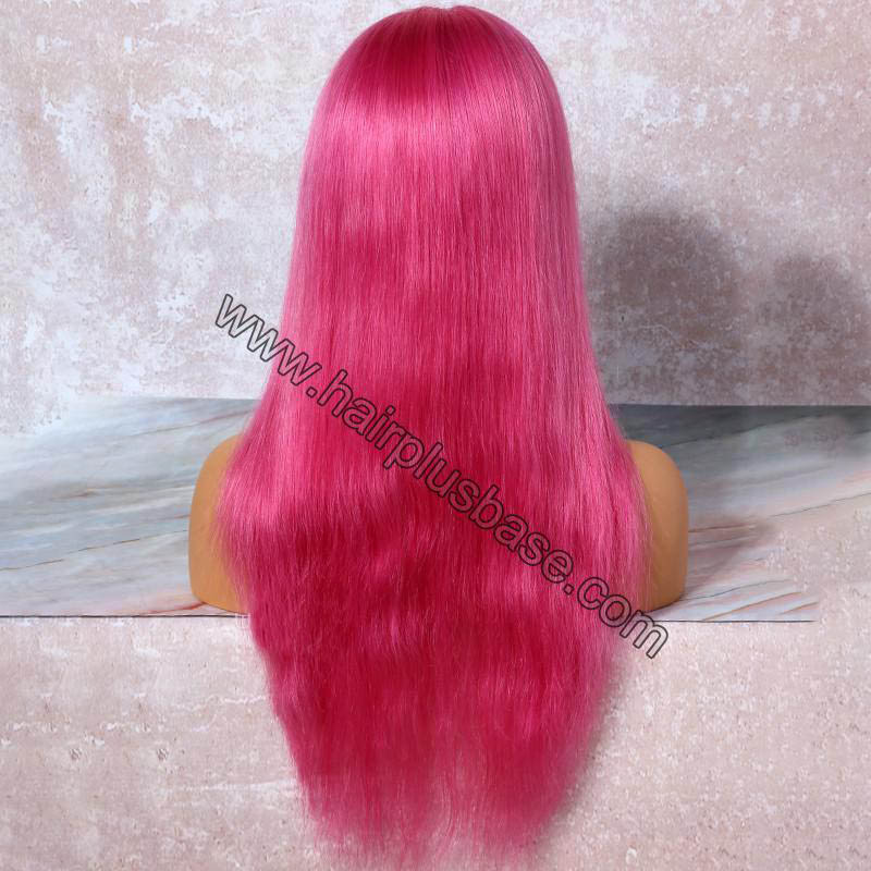 Pink Hair Full Lace Wigs Natural Straight, 120% Density, Chinese Virgin Hair 1