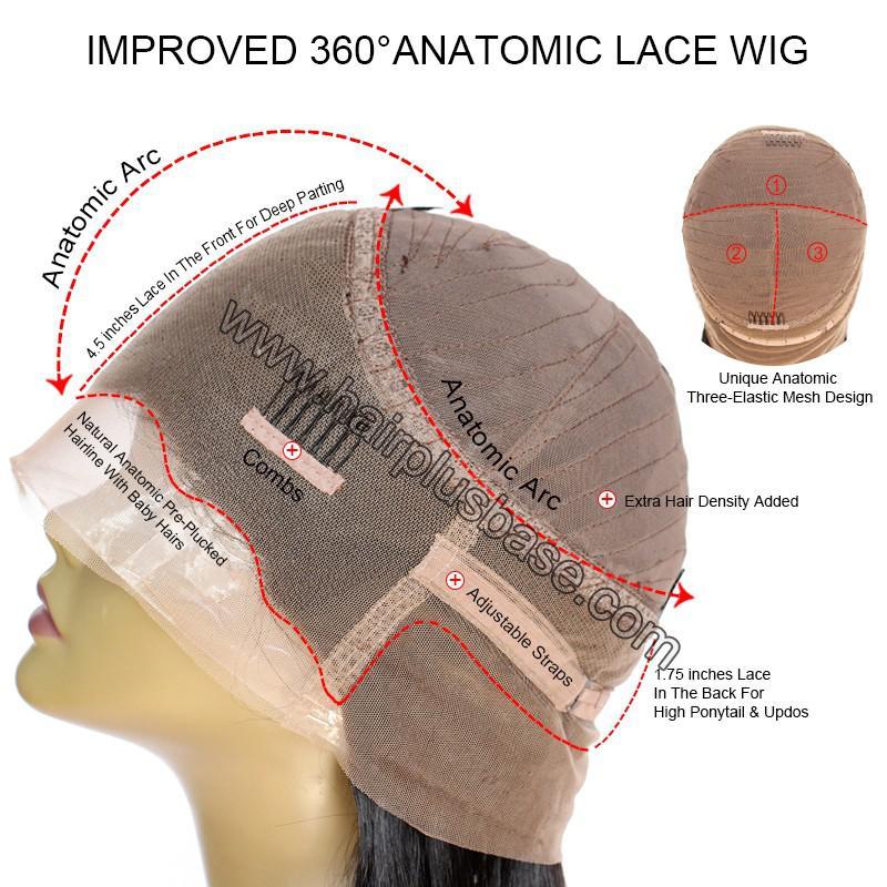 Pre Plucked 360 Lace Wigs Yaki Straight,150% Density, Brazilian Virgin Hair 7