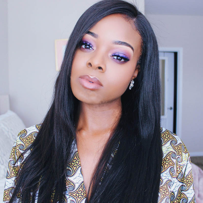 Pre Plucked 360 Lace Wigs Yaki Straight, 180% Density, Brazilian Virgin Hair Long Hair Wig