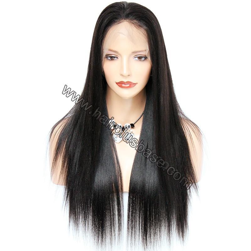 Pre Plucked 360 Lace Wigs Yaki Straight, 180% Density, Brazilian Virgin Hair Long Hair Wig 1