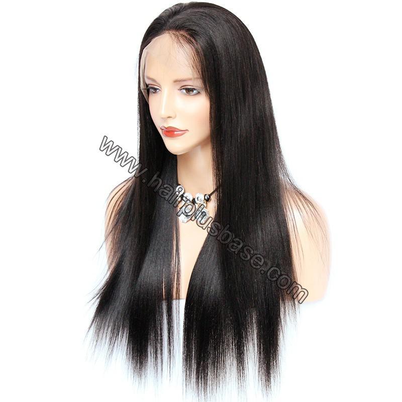 Pre Plucked 360 Lace Wigs Yaki Straight, 180% Density, Brazilian Virgin Hair Long Hair Wig 3