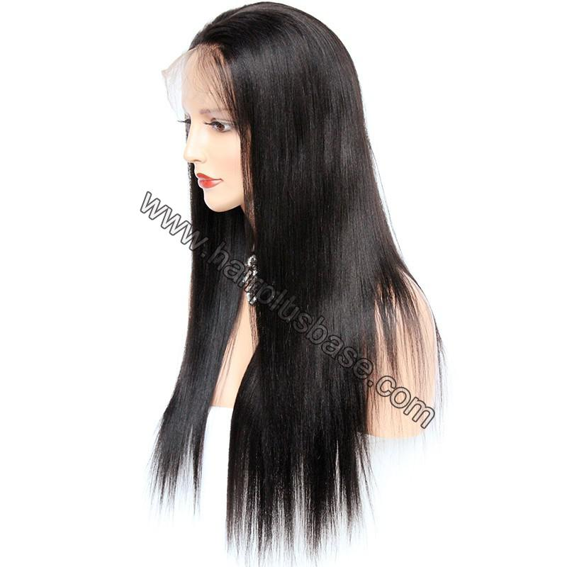Pre Plucked 360 Lace Wigs Yaki Straight, 180% Density, Brazilian Virgin Hair Long Hair Wig 4