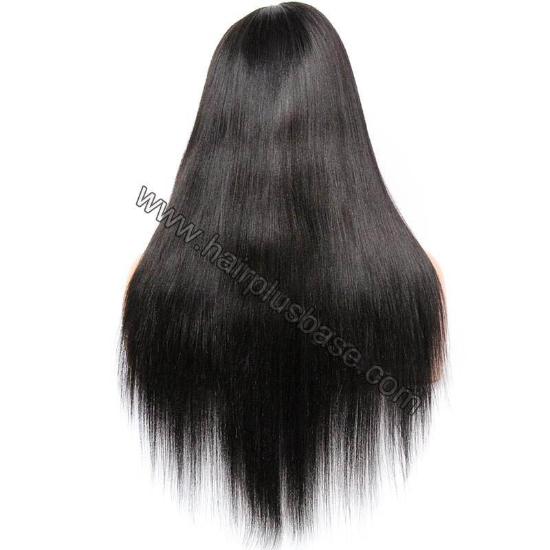 Pre Plucked 360 Lace Wigs Yaki Straight, 180% Density, Brazilian Virgin Hair Long Hair Wig 5