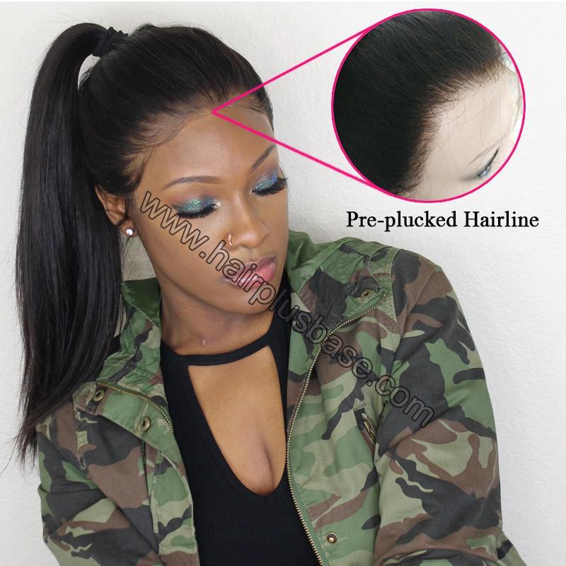 Pre Plucked 360 Lace Wigs Yaki Straight, 180% Density, Brazilian Virgin Hair Long Hair Wig 7