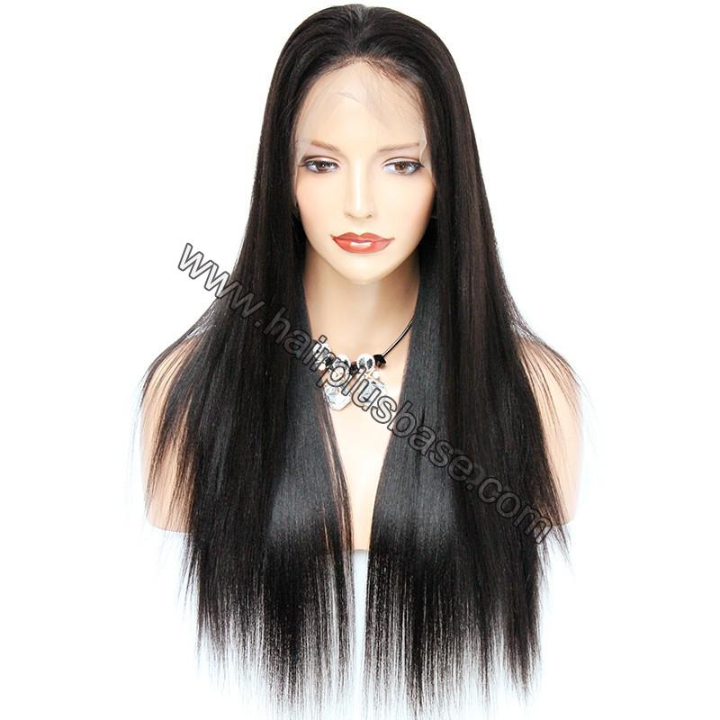Pre Plucked 360 Lace Wigs Yaki Straight,180% Density Indian Remy Hair 1