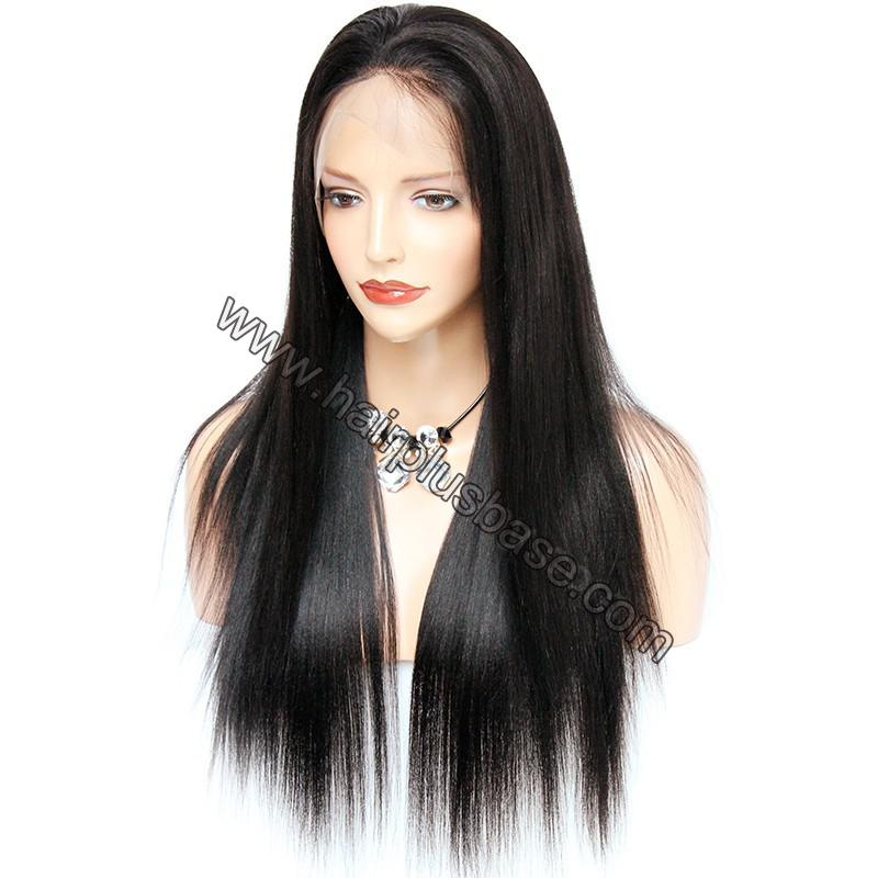 Pre Plucked 360 Lace Wigs Yaki Straight,180% Density Indian Remy Hair 3