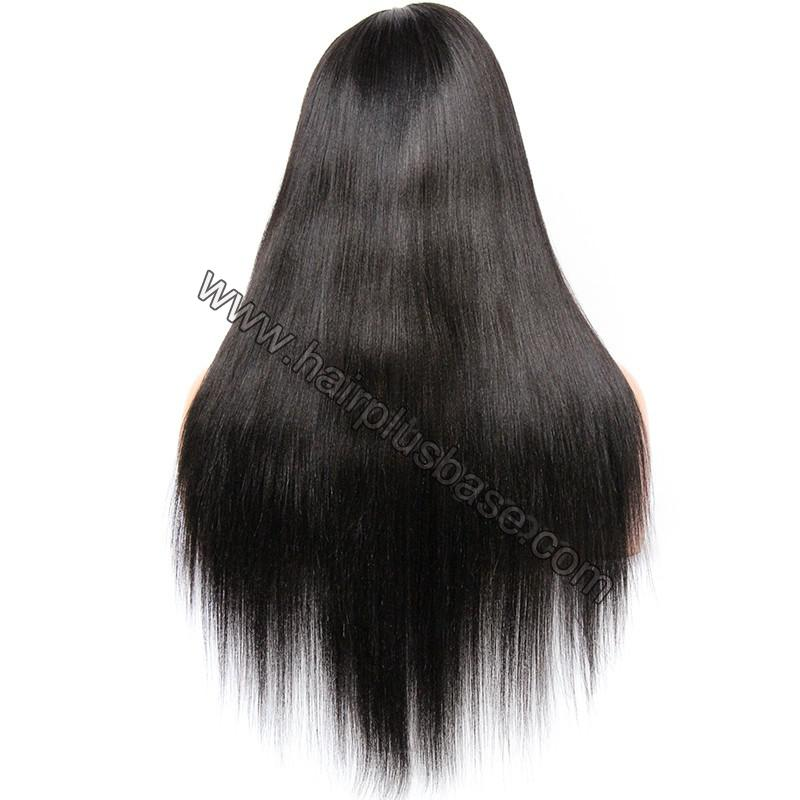 Pre Plucked 360 Lace Wigs Yaki Straight,180% Density Indian Remy Hair 5