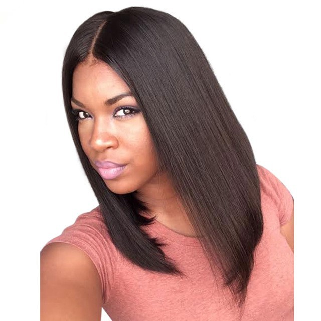 Pre Plucked 360 Lace Wigs Yaki Straight Bob Wig,150% Density, Indian Remy Hair Short Bob Wig 0