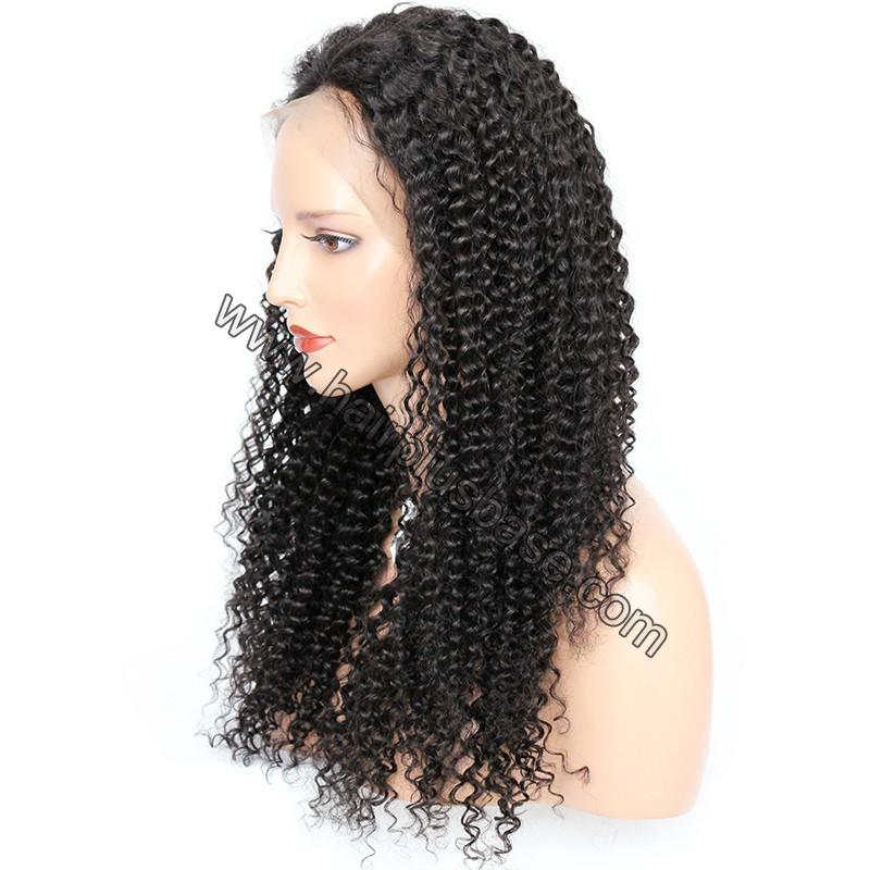 Pre Plucked Hairline 360 Lace Wigs Kinky Curl, 180% Density,  Indian Remy Hair, 4.5 Inches Deep Part 6