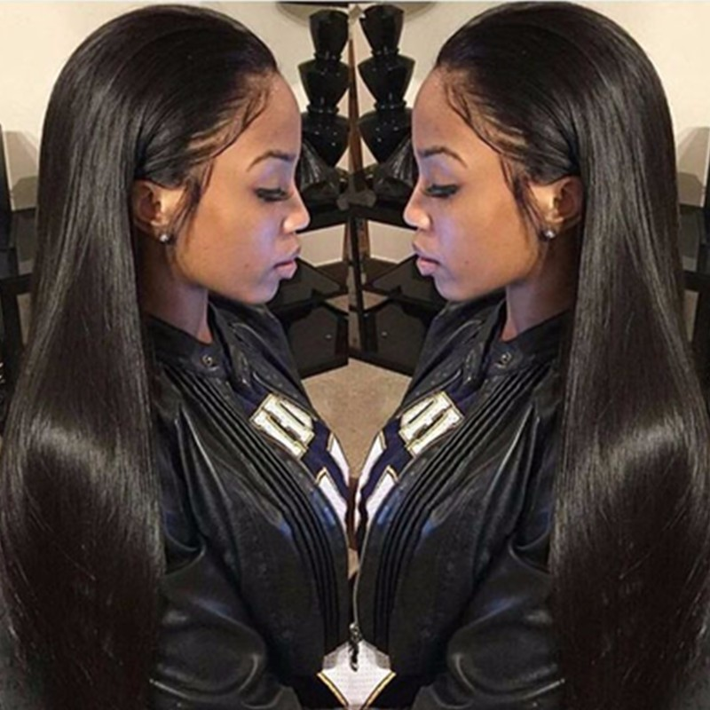 Pre Plucked Hairline Glueless Full Lace Wigs Indian Remy Hair Light Yaki Straight
