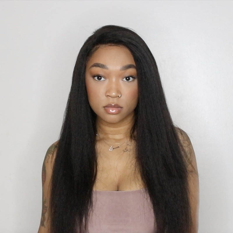 Pre Plucked Hairline Kinky Straight 360 Lace Wigs, 4.5 Inches Deep Part, 150% Density Indian Remy Hair