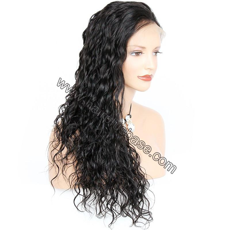 Pre Plucked Hairline Natural Wave 360 Lace Wigs, 180% Density, Indian Remy Hair 6