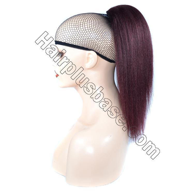 14 - 32 Inch Straight Human Hair Ponytail Drawstring Clip Ponytail Extensions Dark 99J no 1