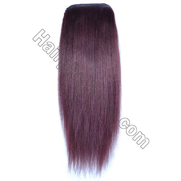 14 - 32 Inch Straight Human Hair Ponytail Drawstring Clip Ponytail Extensions Dark 99J no 2