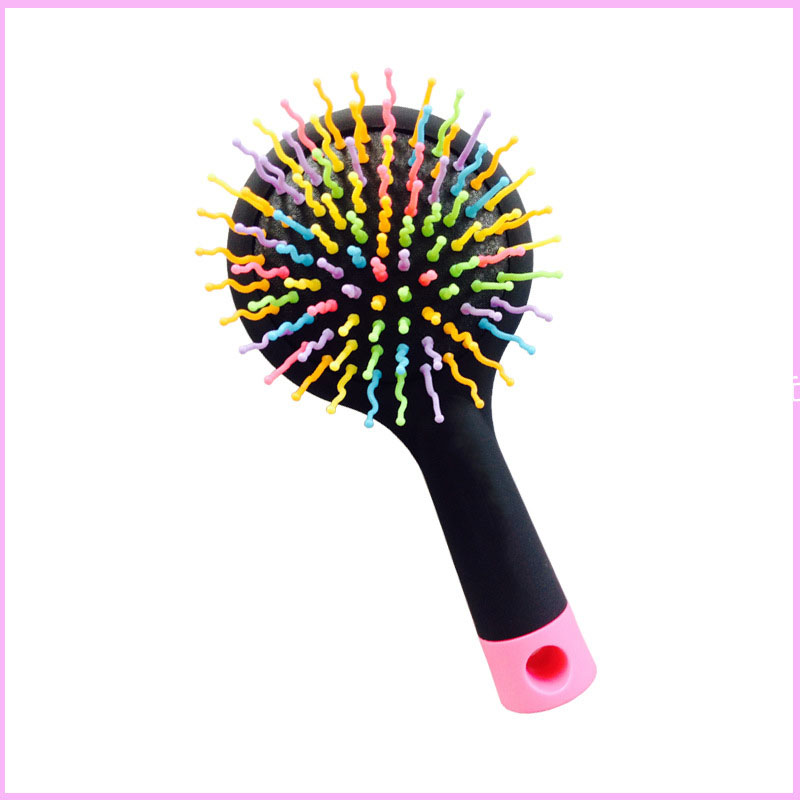 Rainbow S-Curl Air Volume Brush With Back Mirror for Abundant hair & Detangling Comb 1