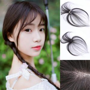 Real Human Hair 3D Air Bangs with Long Side Temple, Clip on Hair Topper Bang Hair Extensions for Women