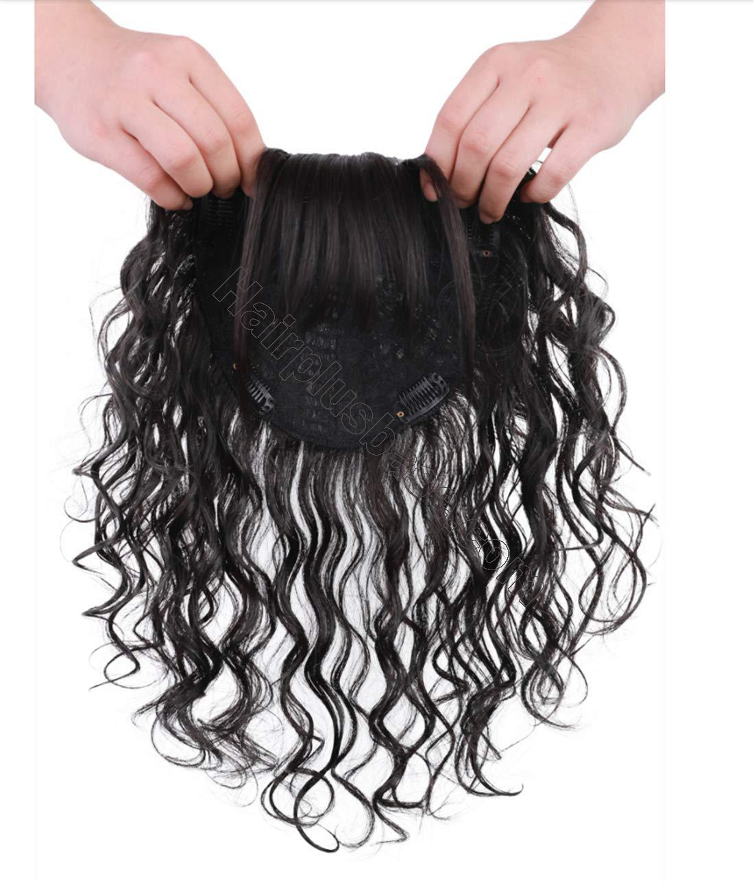 Real Human Hair Crown Hair Pieces Curly Hair Topper with Bangs for Women with Thinning Hair 2