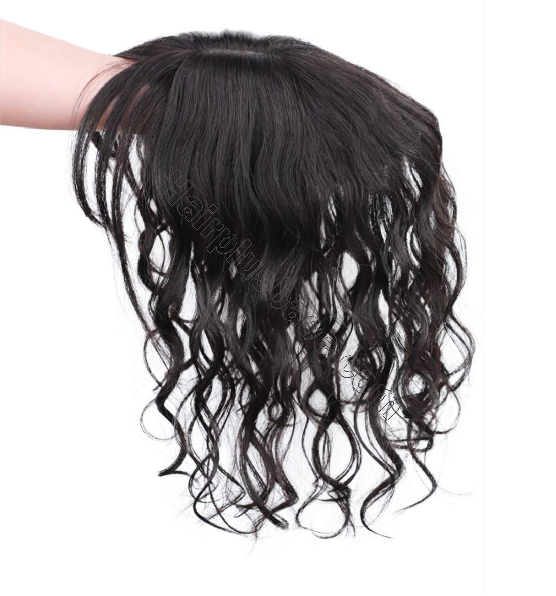 Real Human Hair Crown Hair Pieces Curly Hair Topper with Bangs for Women with Thinning Hair 3