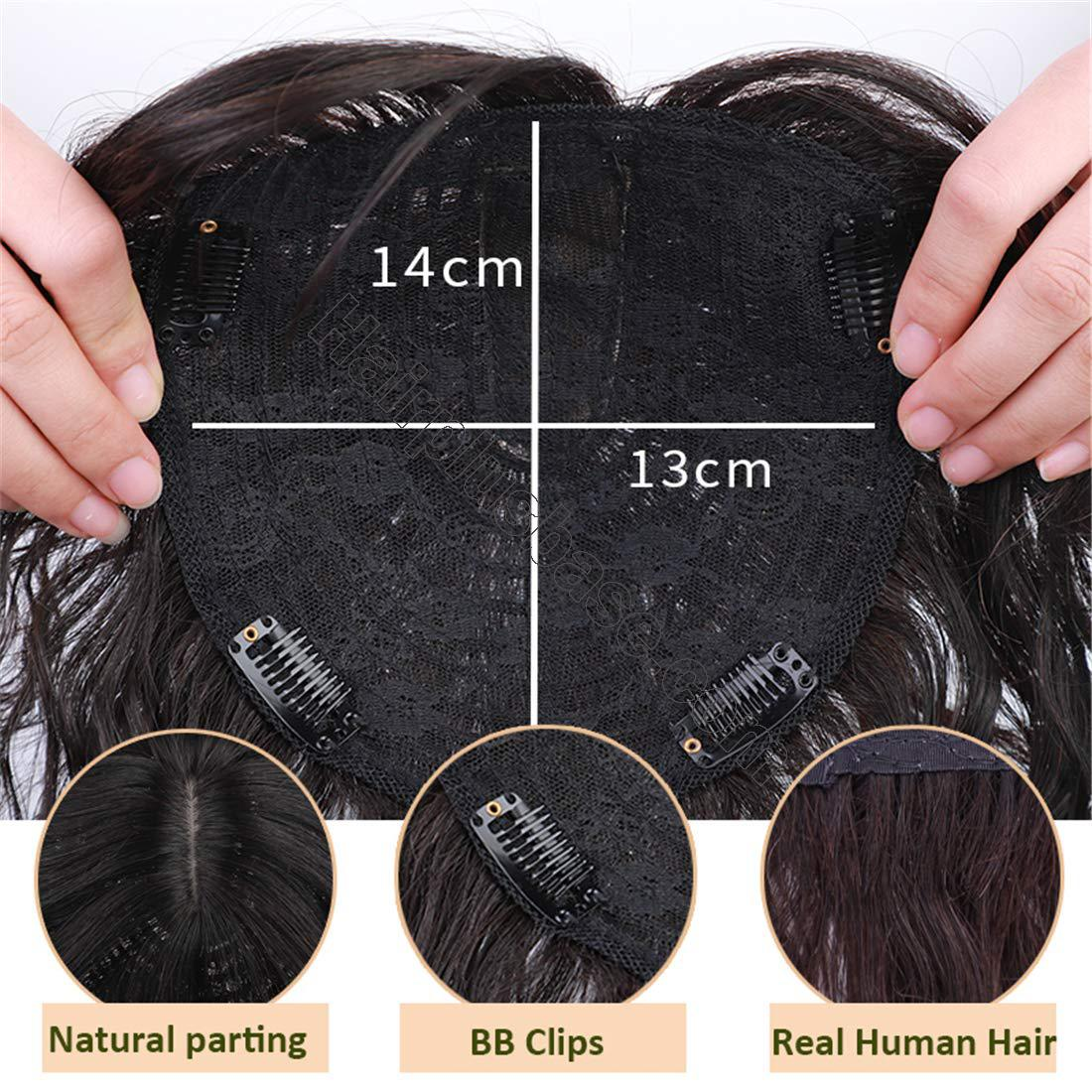 Real Human Hair Crown Hair Pieces Curly Hair Topper with Bangs for Women with Thinning Hair 4
