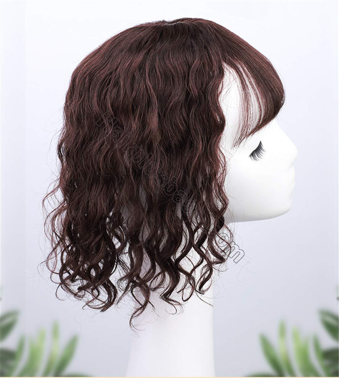 Real Human Hair Crown Hair Pieces Curly Hair Topper with Bangs for Women with Thinning Hair 5