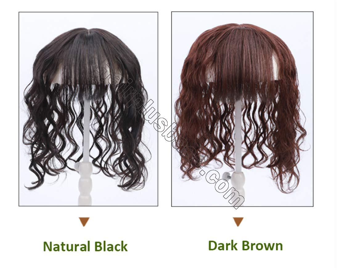 Real Human Hair Crown Hair Pieces Curly Hair Topper with Bangs for Women with Thinning Hair 6