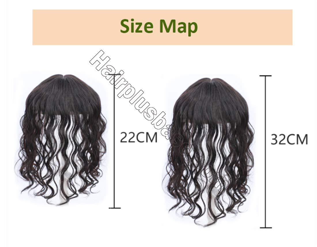 Real Human Hair Crown Hair Pieces Curly Hair Topper with Bangs for Women with Thinning Hair 7