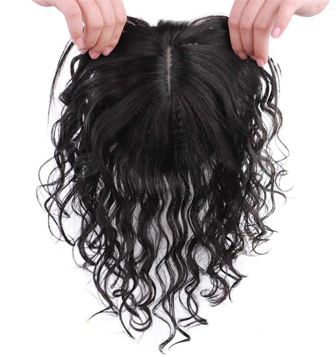 Real Human Hair Crown Hair Pieces Curly Hair Topper with Bangs for Women with Thinning Hair 9