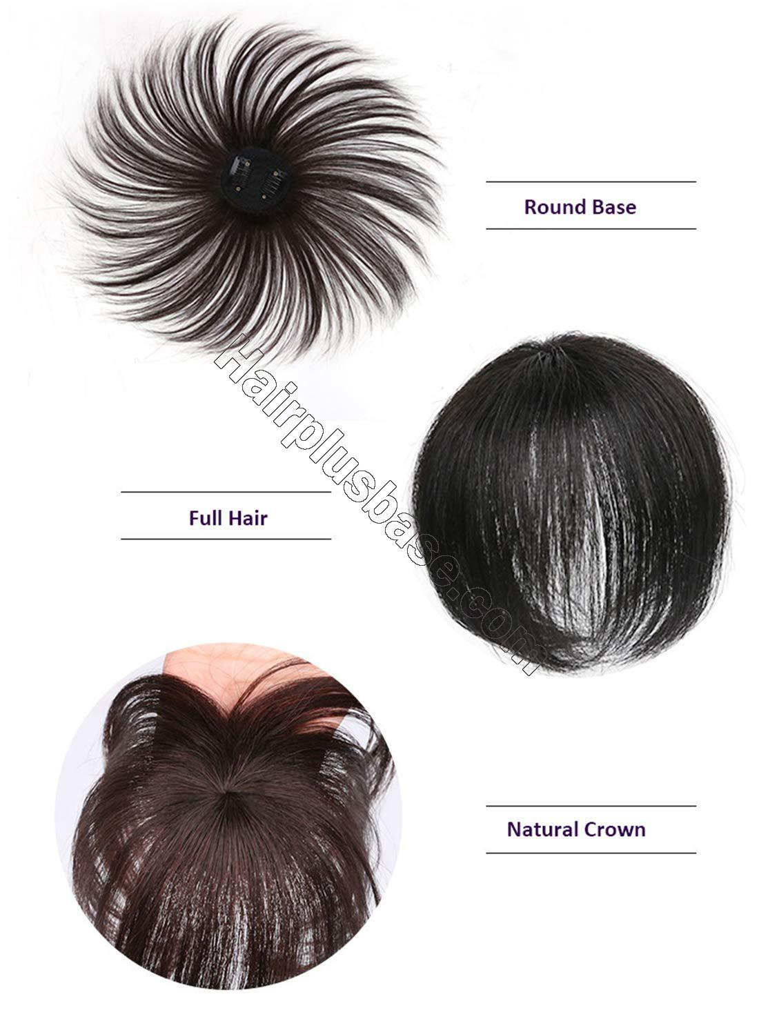Real Human Hair Crown Toppers for Women with Bald Spot, Clip in Top Hairpieces Toupee for Women 3